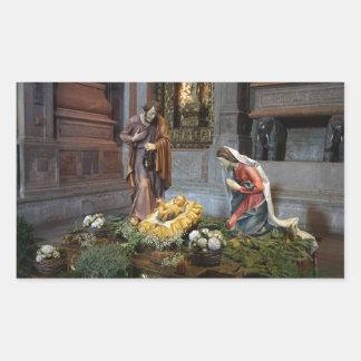 Saint Mary, Jesus and Saint Joseph in Jeronimos Rectangular Stickers