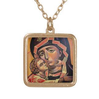 Saint Mary Teotokos Gold Plated Necklace