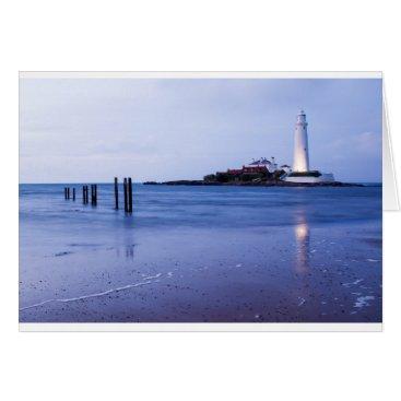 Beach Themed Saint Mary's Lighthouse at Whitley Bay Card
