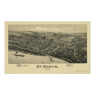 Saint Mary's, WV Panoramic Map - 1895 Poster