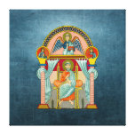 Saint Matthew 6th Century Icon on Blue Gallery Wrapped Canvas