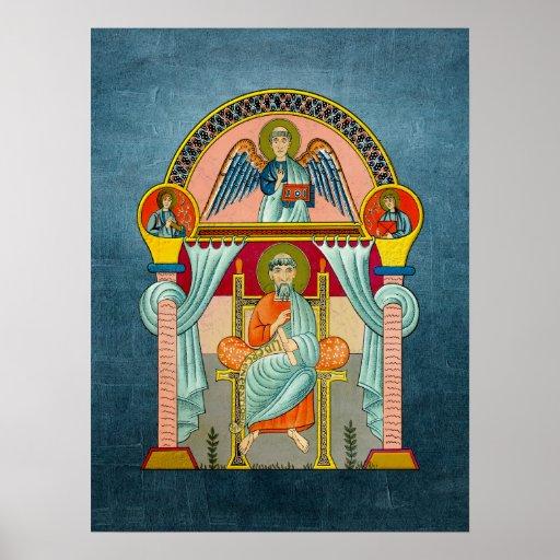 Saint Matthew 6th Century Icon on Blue Print