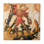 Saint Michael and the Dragon (15th Century) Small Square Tile