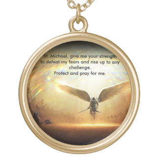 Saint Michael Archangel of God Gold Plated Necklace
