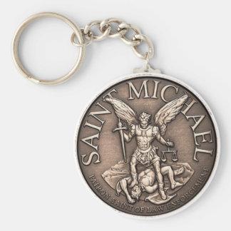 Saint Michael Basic Round Button Keychain