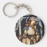 Saint Michael by Burne Jones, Vintage Archangel Basic Round Button Keychain