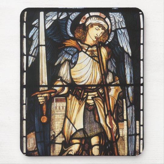 Saint Michael by Burne Jones, Vintage Archangel Mouse Pad