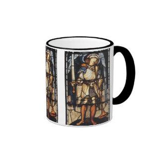 Saint Michael by Burne Jones, Vintage Archangel Ringer Coffee Mug