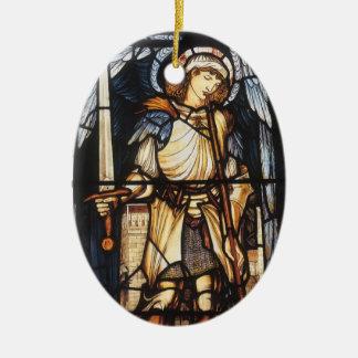 Saint Michael by Burne Jones, Vintage Archangel Double-Sided Oval Ceramic Christmas Ornament