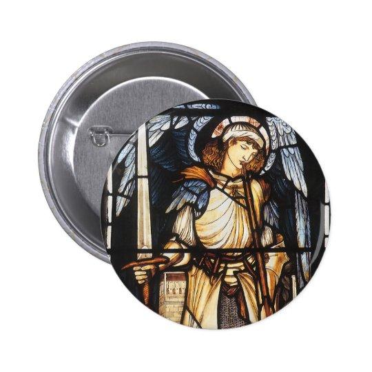 Saint Michael by Burne Jones, Vintage Archangel Pinback Button
