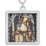 Saint Michael by Burne Jones, Vintage Archangel Square Pendant Necklace