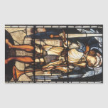 Saint Michael by Burne Jones, Vintage Archangel Rectangular Sticker