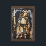 """Saint Michael by Burne Jones, Vintage Archangel Tri-fold Wallet<br><div class=""""desc"""">Saint Michael (1873) by Sir Edward Coley Burne-Jones is a vintage Victorian architectural element, a stained glass window in a church with an angel. A Pre-Raphaelite fine art religious piece featuring archangel St. Michael holding a sword. About the artist: Sir Edward Coley Burne-Jones, 1st Baronet (1833-1898) was an English artist...</div>"""