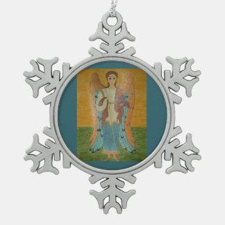 Saint Michael Snowflake Pewter Christmas Ornament