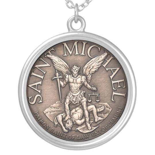 Saint Michael Pendent Silver Plated Necklace