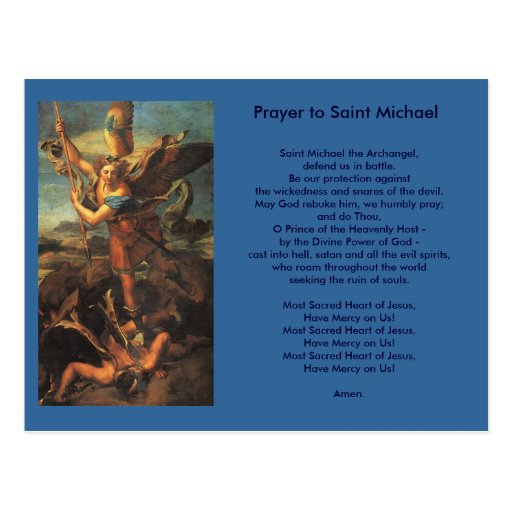 Saint Michael Prayer postcard