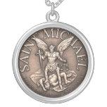 Saint Michael Round Pendant Necklace
