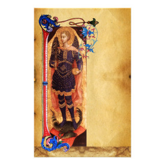 SAINT MICHAEL THE ARCHANGEL FLORAL PARCHMENT STATIONERY
