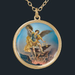"""Saint Michael the Archangel Necklace<br><div class=""""desc"""">Saint Michael the Archangel is the greatest warrior in all of existence! This necklace showcases the classic Catholic piece of art that shows the defeat of Satan at the hands of Michael after he was cast out of Heaven (Rev. 12:7-9).</div>"""