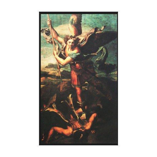 SAINT MICHAEL VANGUISHING SATAN GALLERY WRAPPED CANVAS