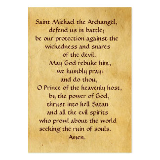 SAINT MICHAEL VANGUISHING SATAN Prayer Card Large Business Cards (Pack Of 100)
