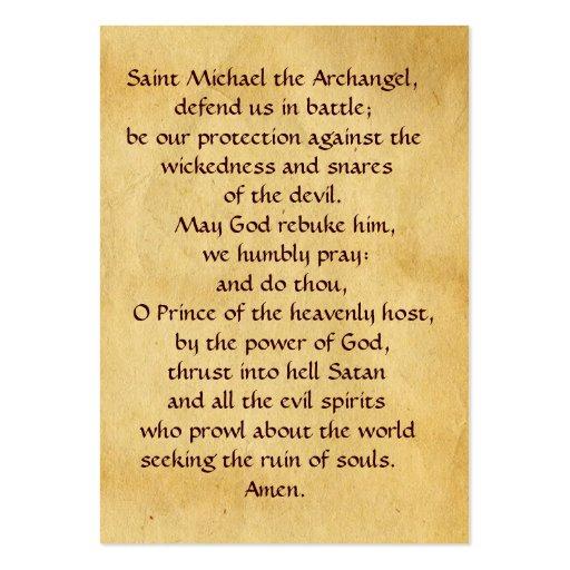SAINT MICHAEL VANGUISHING SATAN Prayer Card Business Card