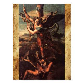 Saint Michael Vanguishing Satan Prayer Postcard