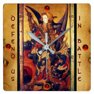 Saint Michael Vanquishing Devil Parchment Square Wall Clock