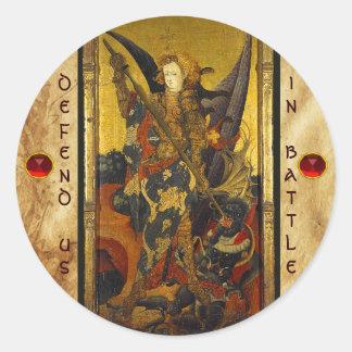 Saint Michael Vanquishing the Devil Classic Round Sticker