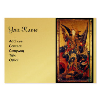 Saint Michael Vanquishing the Devil,gold metallic Large Business Cards (Pack Of 100)