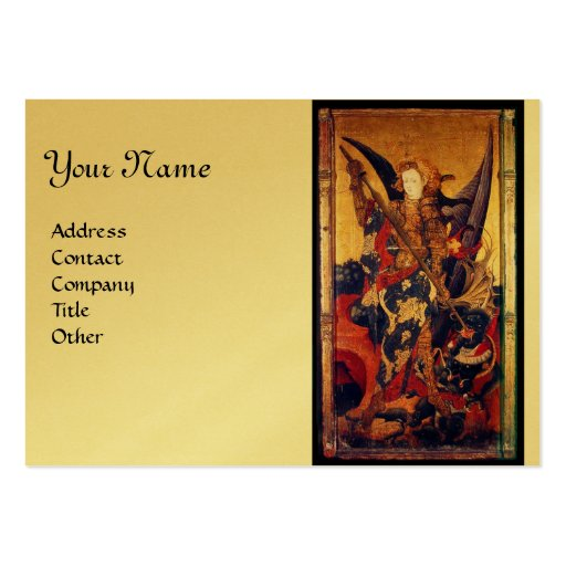Saint Michael Vanquishing the Devil,gold metallic Business Card Template