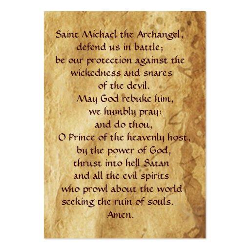 Saint Michael Vanquishing the Devil  Prayer Card Business Card Template