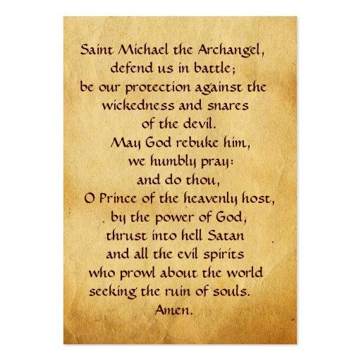 Saint Michael Vanquishing the Devil  Prayer Card Business Card