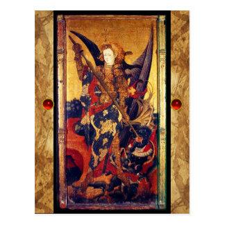 Saint Michael Vanquishing the Devil  Prayer Card Postcards