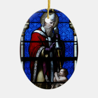 Saint Nicholas Blessings Stained Glass Ceramic Ornament