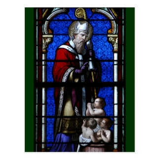 Saint Nicholas Blessings Stained Glass Postcard