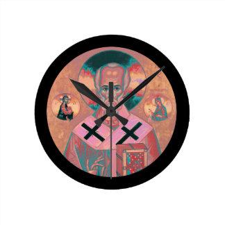 Saint Nicholas Icon Round Clock