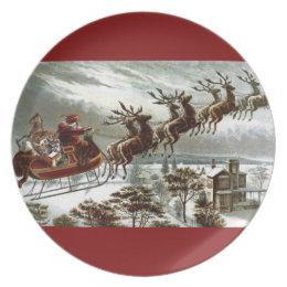 Saint Nick Vintage Victorian Santa Claus Reindeer Plate