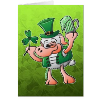 Saint Paddy's Day Sheep Drinking Beer card