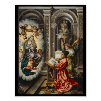 Saint Painting Mary and Baby Jesus Poster