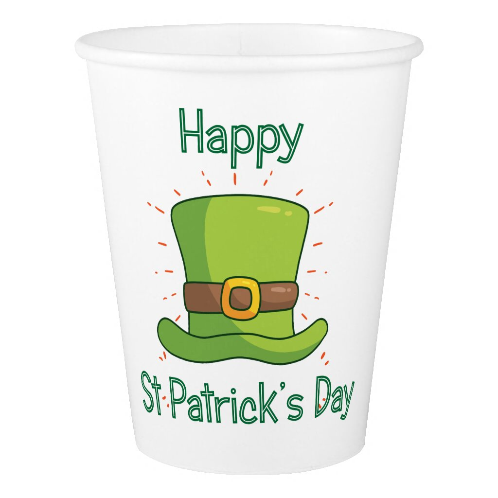 Saint Patrick Day Irish Green Top Hat Paper Cup
