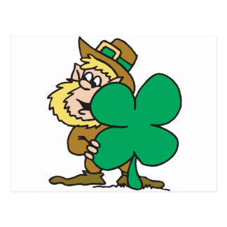 Saint Patrick Day Leprechaun Spying By A Shamrock Postcard