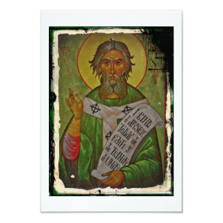 Saint Patrick Icon on Green Background Card
