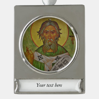 Saint Patrick Icon on Green Background Silver Plated Banner Ornament