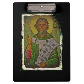Saint Patrick Icon on Green Clipboard