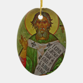 Saint Patrick Icon on Green Double-Sided Oval Ceramic Christmas Ornament