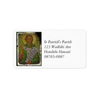Saint Patrick Icon on Green Label