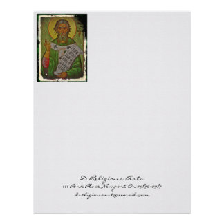 Saint Patrick Icon on Green Letterhead