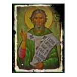 Saint Patrick Icon on Green Postcard