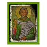 Saint Patrick Icon on Green Postcards